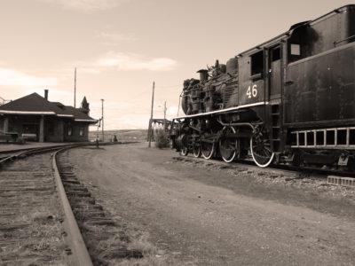 gare de train sépia